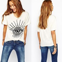2015 Summer Women Big Eye Print T-shirts White Loose Casual Tops for Wholesale Haoduoyi