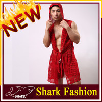 Shark Fashion adult sexy men nightwear mens polyester dressing gown plain red