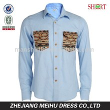 2015 Aztec Double pocket Wooden buttons Mens casual dress shirts