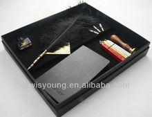 Hand made ostrich feather gift pen with wax seal set