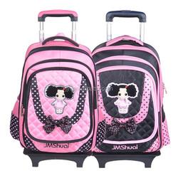 kids school bag with wheels for girls/detachable trolley school bags wheeled backpack