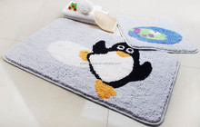 promotion customized Bath floor Microfiber Bathroom door mat carpet set