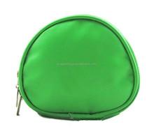Round Shape Makeup Bag Green Satin Material Cosmetic Bag