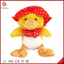 Wholesale plush duck with kerchief and bowknot stuffed duckling dolls soft cartoon animal toy
