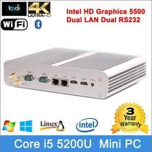 Dual LAN 2* RS232 Intel newest processor latest computer models Core i5 5200U Mini pc dual nic hystou 5200u 128g SSD mSATA+SATA