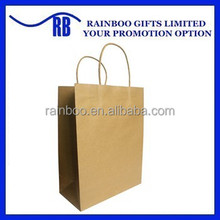Hot selling OEM customized cheap recycled kraft paper shopping bag for promotional gift