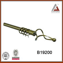 hot sell twisted iron curtain finial, extendable cast iron curtain rod, heavy gauge curtain