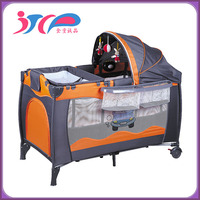 Wholesale baby travel products baby travel cot plastic baby folding playpen with wheels and canopy