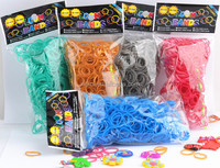 300pcs per bag + 12pcs S + 1 clips metallic loom bands