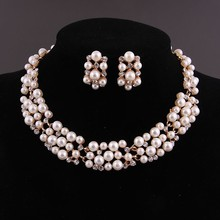 2015 Hot Selling 18k Gold Plated Wedding Bridal Costume Imitation Pearl Necklace Earrings 2pcs Clear Crystal Jewelry Sets A3001