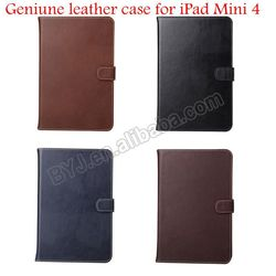 High Quality Real Leather Case for iPad Mini 4 Book Cover Stand Case, for iPad Mini 4 Flip Leather Case
