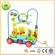 015 Dolls stringbeads wooden beads toy car,Popular wooden stringing beads game,Top quality and funny wooden string beads