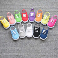 Factory Brand New Girls Boy's Fashion Canvas Breathable Sneakers Shoe For Children Size 13-17 Flats Heels Casual Shoes