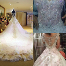 BW001 Custom Made White V-Neck Bead Crystal Shine Bridal Gown Cathedral Train Vestidos De Novia Wholesale Alibaba Wedding Dress
