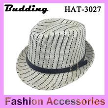 Striped Women Men Fedoras Straw Caps Solid Dress Hats Stylish Beach Sun Panama