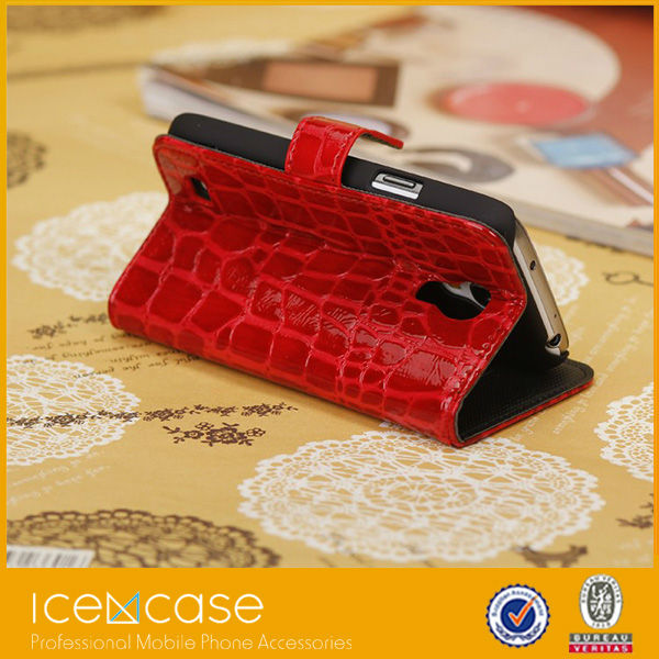 Croco Alligator pattern wallet leather case for Samsung s4 mini with card slot