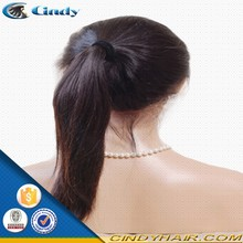 classy 100 virgin brazilian human hair high ponytail lace front wigs with bangs