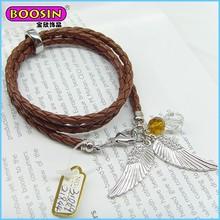 Hot Sale fashion handmade 3 wrap braided leather bracelet for men/women