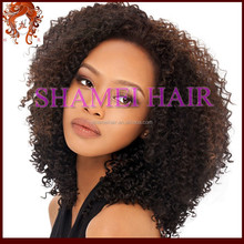 Qingdao New Design Silk Top Natural Looking Virgin Mongolian Hair Kinky Curl Lace Wig