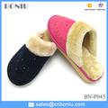 De ante del faux femenino zapatillas de casa de invierno de espuma eva suela