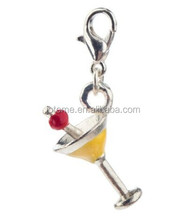 Classy Wine / Cocktail / Martini Glass Shape Clip On Pendant Charm For Bracelets Bangles In Silver, Yellow Colors With Red Cherr