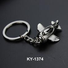 Wholesale Yiwu market cheap custom Wholesale metal 3D airplane keychain keyrings