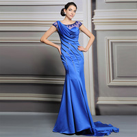 2015 new long section of the trailing blue dress catwalk models fishtail gown Cars