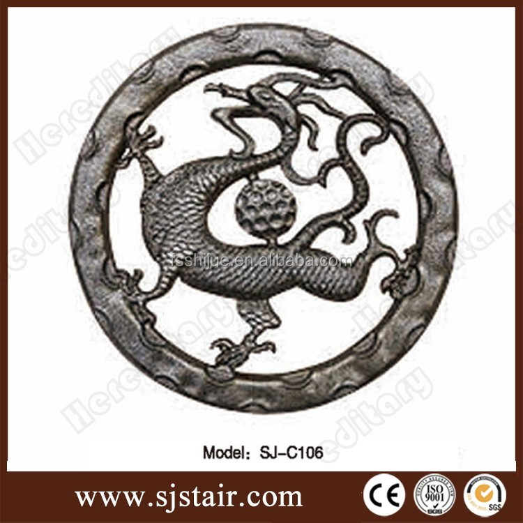 decorative iron fence ornaments, ornamental cast aluminum accessories/ornamental iron stud, dragon style fence decorative rings