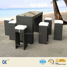 High quality rattan bar sets / knock down structure table/outdoor rattan bar set