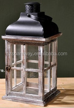 small house lighted table centerpieces,hanging glass candle lanterns,Outdoor Decor Wood Lantern With Metal Top