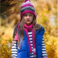 7-10 years old Girl fashion Knitted winter hat&scarf set
