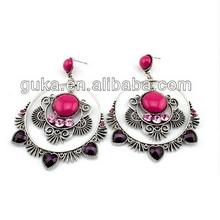 Lovely Stone Heart Charm Delicate Large Earrings traditional earring