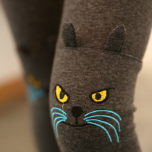 embroidery kitten thickening stylish knee pantyhose leggings significantly thin pants