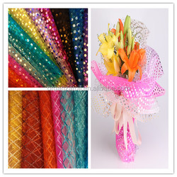 2015 best selling polyester printed glitter organza roll flower design wrapping roll