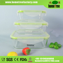 3pcs rectangle pyrex glass vacuum food storage container with lock and lid