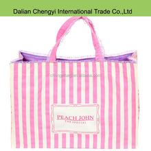 Chic popular pink striped nylon girls shopping bags with lace