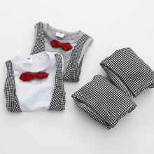Summer hot sale model of kid clothes set the newest 2014 stand collar striped wholesale alphabet printed casual kids clothes