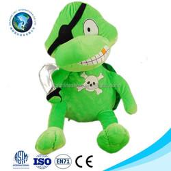 2015 Fashion custom cheap green stuffed soft plush pirate turtle toy