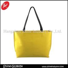 easy style shopping bag/clear handbag/yellow tote bag