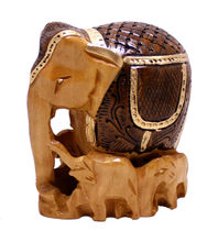 Hand Crafted Indian Painted Elephant Family Wooden Sculpture