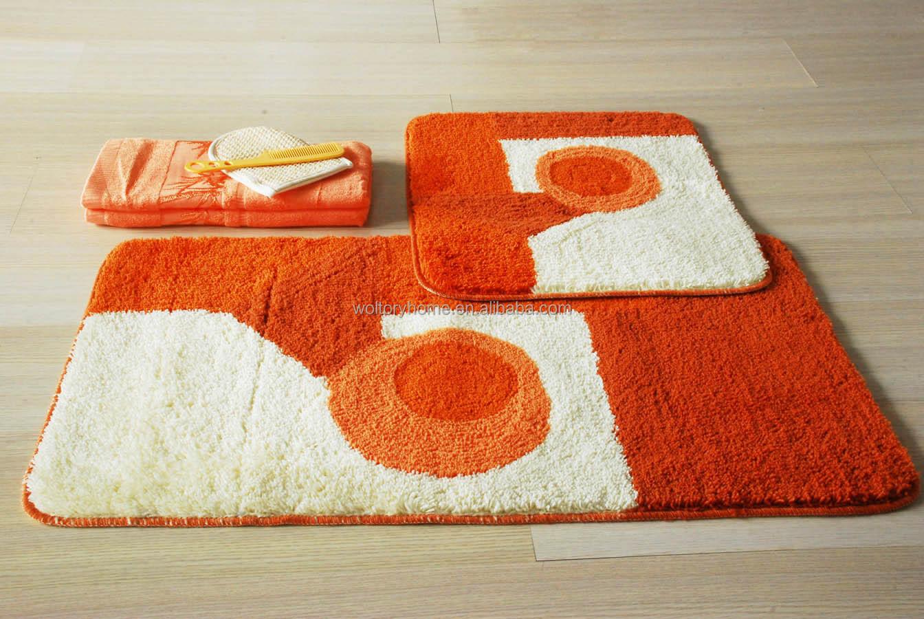 2 stuks wasbaar jacquard acryl badmatten, oranje huis ontwerp ...