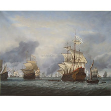 Traditional pirate ship sea battle ocean seascape oil painting for decoration wall