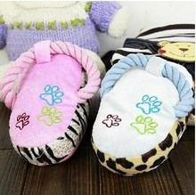 Plush talking toys Cotton rope pet cat dog toys ring slippers pet plush toys with sound chip