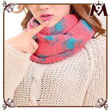 Fashion heart pattern multicolor knitted printed scarf