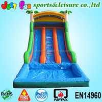 2015 hot sale dual lane cheap jungle inflatable water slides with pool