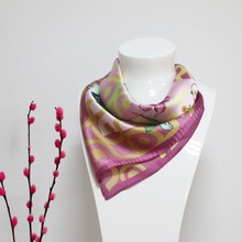 Own design square digital printing satin silk scarves for dyeing