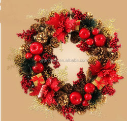 Red Color Splendor Fruit and Cone Christmas Wreath with pinecones plastic