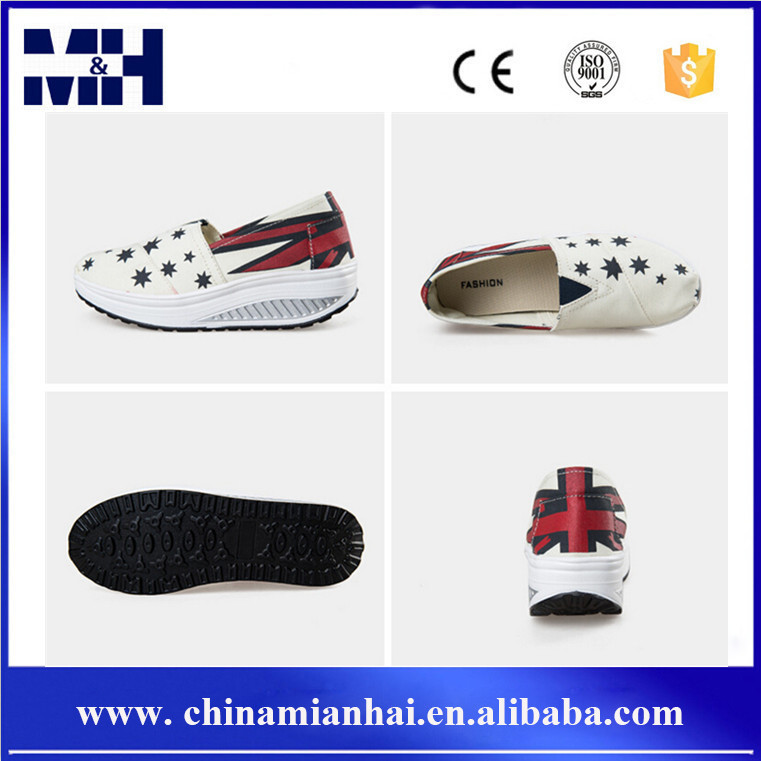 Hot Sales Height Increasing Canvas Action Shoes For Ladies