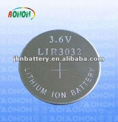 li-ion coin cell LIR 2032 3.6v rechargeable battery