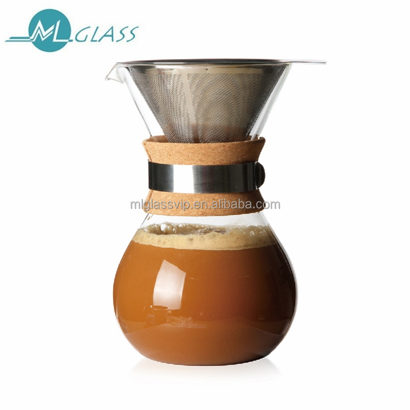 Glass Pot For Coffee Maker : Wholesale borosilicate glass coffee maker pot glass coffee jar with double SS filter wooden neck ...